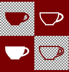 Cup sign bordo and white icons and line vector