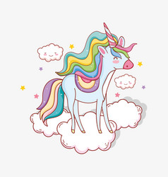 Cute unicorn with horn in the clouds and stars vector