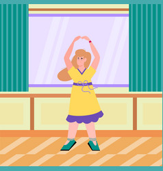 Dancing woman in yellow dress in interior flat vector