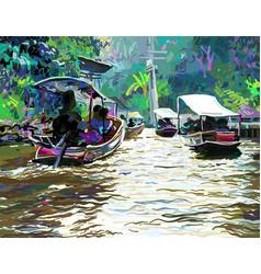 Digital painting thailand river plein air vector