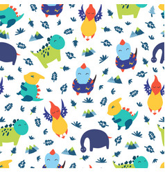 dinosaurs seamless pattern for kids creative vector image