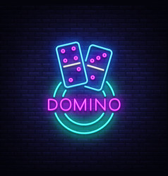 domino neon logo domino neon sign design vector image