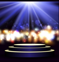 empty podium on bokeh lights background vector image