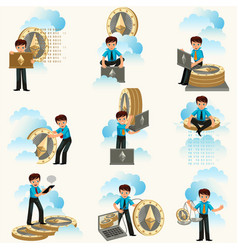 Ethereum cryptocurrency flat set vector