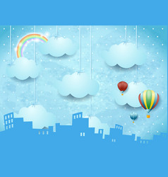 fantasy skyline with hanging clouds surreal vector image