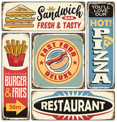fast food restaurants and diners retro signs vector image