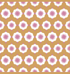 geometric flowers in rose and white vector image