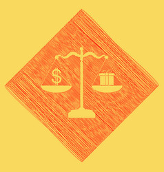 Gift and dollar symbol on scales red vector