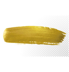 Gold brush paint stroke acrylic golden color vector
