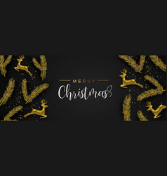 gold christmas pine tree and deer ornament banner vector image
