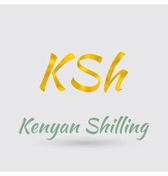 Golden Symbol of Kenyan shilling vector