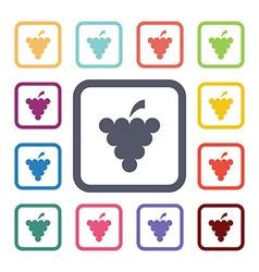 Grapes flat icons set vector