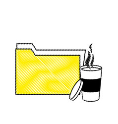 Grated folder file archive and hot coffee vector