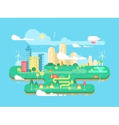 Green city flat vector