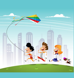 group of three kids running in the park with kite vector image