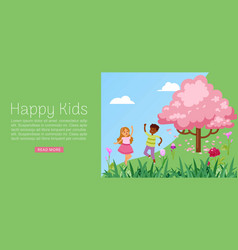 Happy kids inscription banner boy girl friends vector