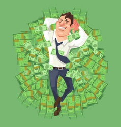 Happy smiling rich businessman character vector