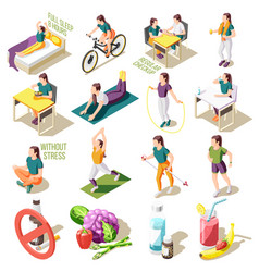 Healthy life style isometric icons vector