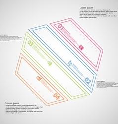 Hexagon infographic template created by four color vector