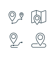 Location and route line icons set on white vector