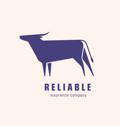 Logotype with silhouette bull or ox logo with vector