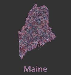 Maine line art map vector image