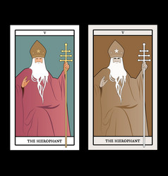 Major arcana tarot cards the hierophant pope with vector