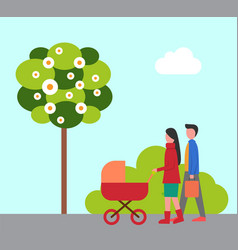 man and woman walking with pram parents vector image