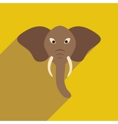 Modern flat icon with long shadow Indian elephant vector