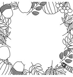 natural frame leaves foliage on white background vector image
