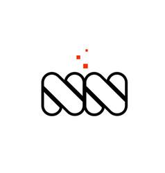 nn n n black white red alphabet letter vector image