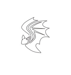 one single line drawing wild bat for company vector image