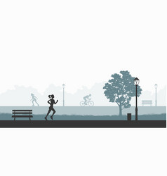 Outdoor fitness silhouettes exercising people vector