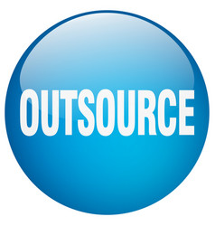 Outsource blue round gel isolated push button vector