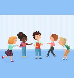 Problem kids bullying at school multiracial vector