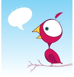 Purple bird doodle wallpaper with text bubble vector