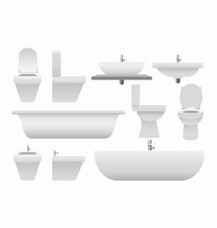 realistic 3d bathroom collection vector image