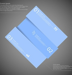 Rectangle motif askew divided to three blue parts vector image