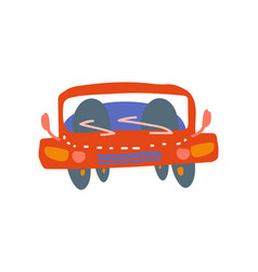 red car front view cartoon vector image