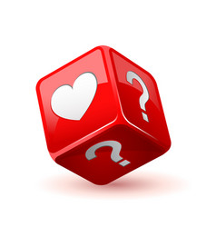 Red dice icon love does not love question vector