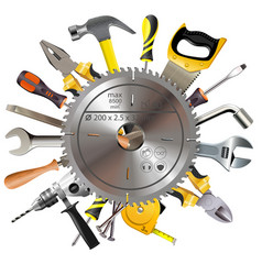 saw blade with tools vector image vector image