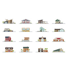 set different styles residential houses vector image