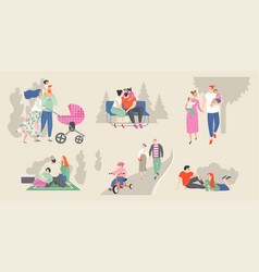 set families with children in park vector image
