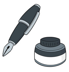 Set fountain pen and ink bottle vector