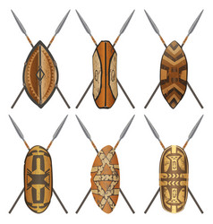 Set of african shields ethnic design different vector