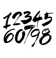 Set of calligraphic acrylic or ink numbers vector