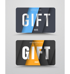Set of gift cards with floating sheets of paper vector