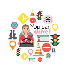Set of road symbols and woman driver character vector