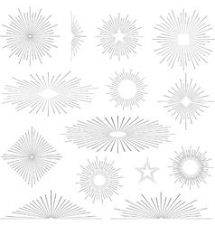Set of vintage retro sunbursts vector