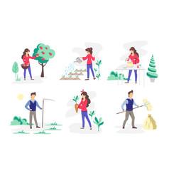 set people working in garden mental health vector image